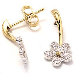 Blomster øreringe i 9 karat guld og hvidguld med zirkoner