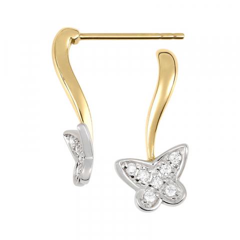 Sommerfugle øreringe i 9 karat guld og hvidguld med zirkoner
