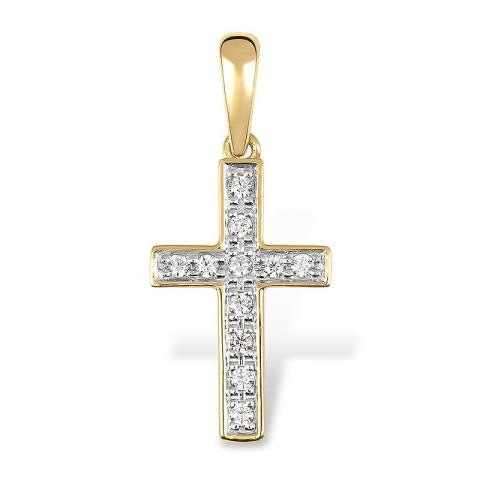 Bredt kors vedhæng i 9 karat guld