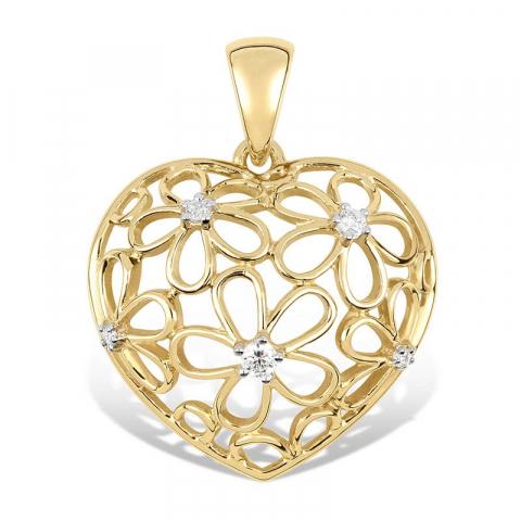 Hjerte blomstervedhæng i 9 karat guld