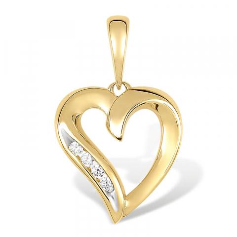 ægte hjerte vedhæng i 8 karat guld