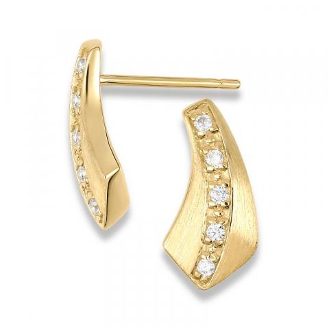 Trekantet ørestikker i 9 karat guld med zirkoner