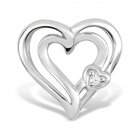 Hjerte vedhæng i 8 karat hvidguld