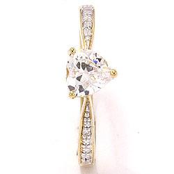 Smal hjerte hvid zirkon ring i 8 karat guld