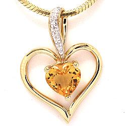 Hjerte citrin vedhæng i 9 karat guld