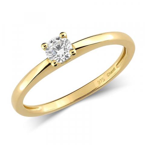 Ringe: zirkon solitairering i 9 karat guld