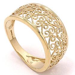 Bred hjerte ring i 8 karat guld