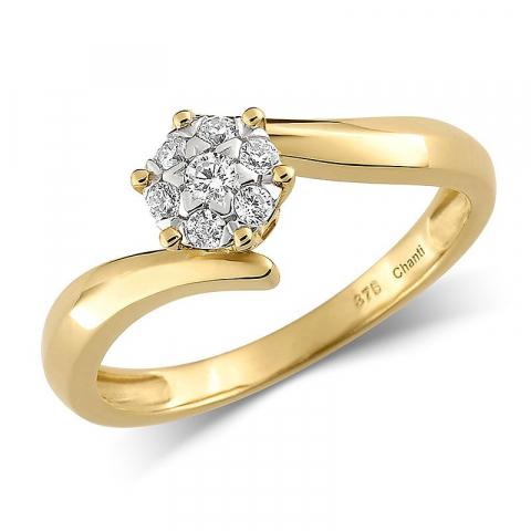 Rund ring i 8 karat guld
