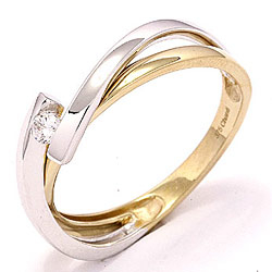 Zirkon ring i 8 karat guld med 8 karat hvidguld