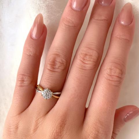Guldring ring i 8 karat guld og hvidguld