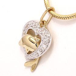 Delfin hjertevedhæng i 9 karat guld og 9 karat hvidguld