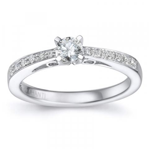 Diamant ring i 14 karat hvidguld 0,26 ct 0,12 ct