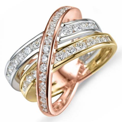 Diamantring i 14 karat alm.- hvid- og rødguld 1,18 ct