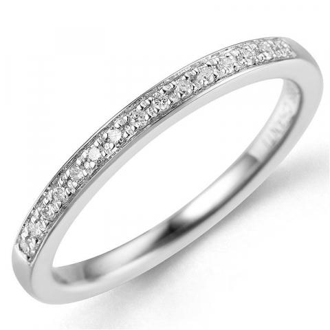 Diamant ring i 14 karat hvidguld 0,09 ct