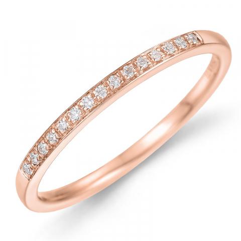 Diamantring i 14 karat rødguld 0,09 ct