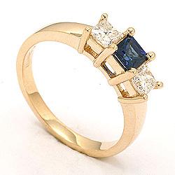 Safir ring i 14 karat guld 0,52 ct 0,36 ct