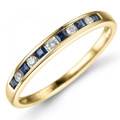 Safir ring i 14 karat guld 0,11 ct 0,26 ct