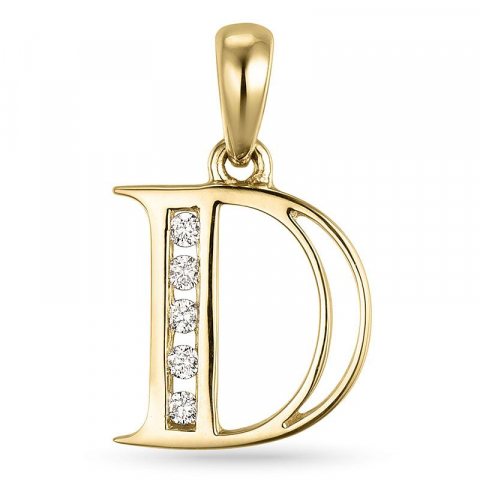 bogstav D vedhæng i 14 karat guld 0,05 ct