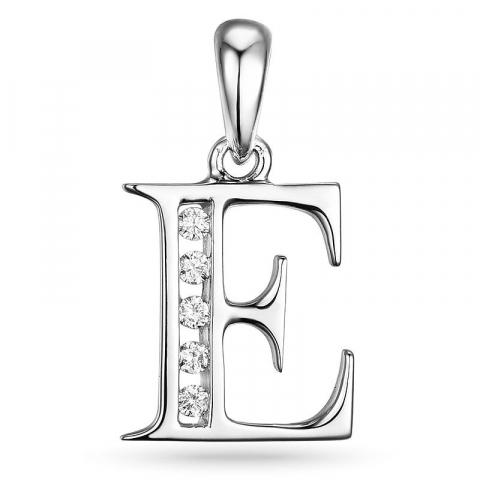 bogstav E vedhæng i 14 karat hvidguld 0,05 ct