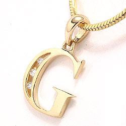 Bogstav g vedhæng i 14 karat guld 0,03 ct