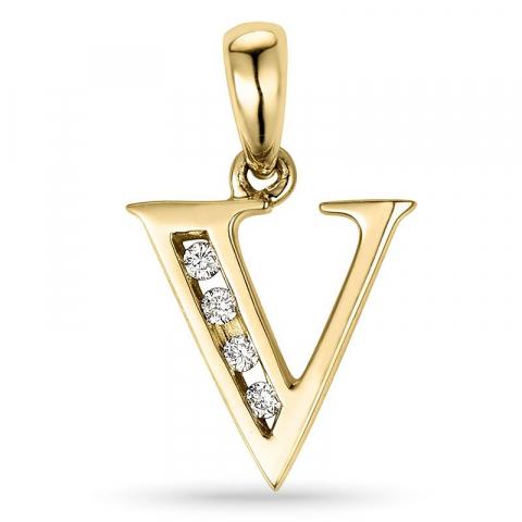 bogstav V vedhæng i 14 karat guld 0,04 ct