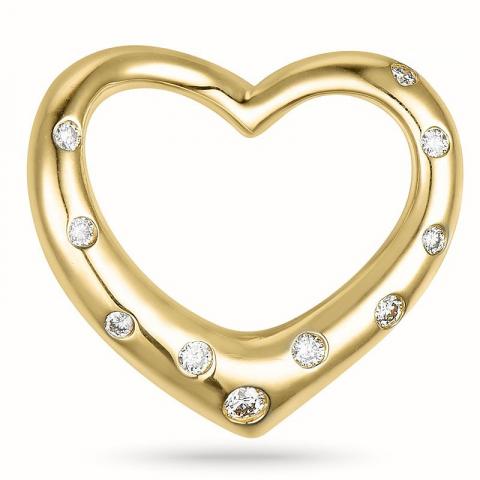 Hjertevedhæng i 14 karat guld 0,12 ct