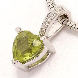 Grøn peridot diamantvedhæng i 14 karat hvidguld 0,03 ct