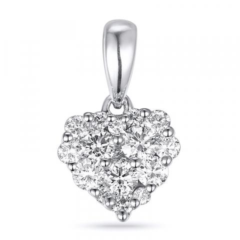 Smukt diamant hjertevedhæng i 14 karat hvidguld 0,35 ct
