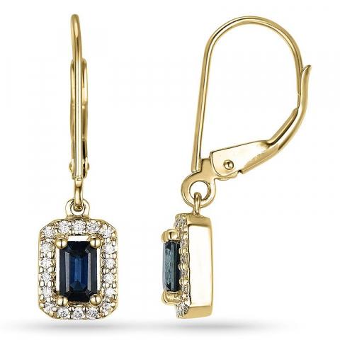 Safir øreringe i 14 karat guld med diamanter og safirer
