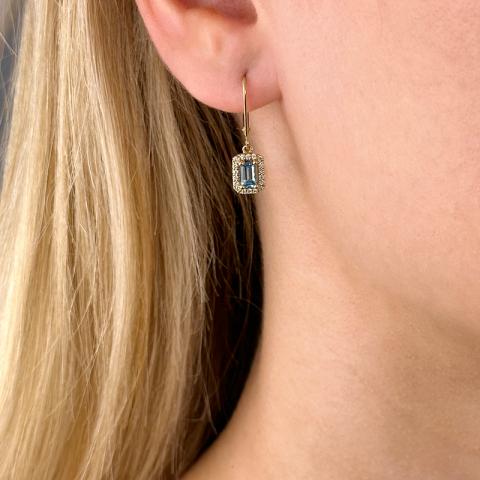 lange topas øreringe i 14 karat guld med diamant og topas