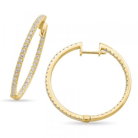 eksklusive 28 mm diamant creoler i 14 karat guld med diamant