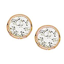 4 mm Scrouples runde øreringe i rosabelagt sølv hvide zirkoner