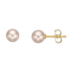 6 mm Scrouples runde hvide perle øreringe i 8 karat guld