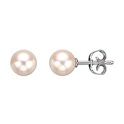 7 mm Scrouples runde hvide perle øreringe i sølv