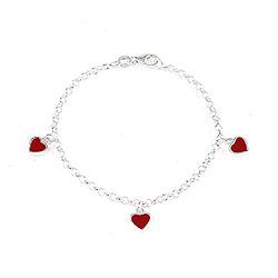 Sødt Scrouples hjerte armbånd i sølv rød emalje