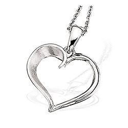 Scrouples hjerte vedhæng med halskæde i sølv