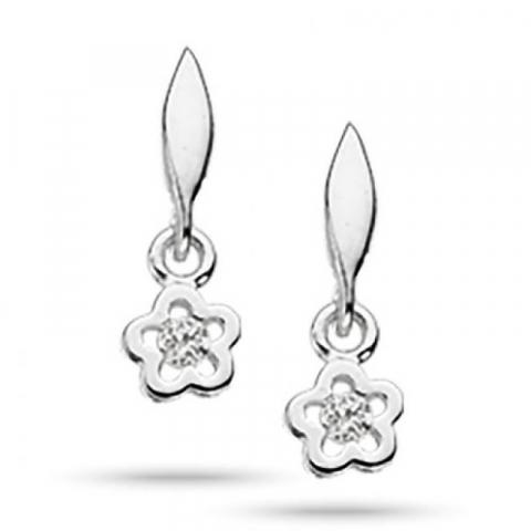 Pæne Scrouples blomst øreringe i sølv hvide zirkoner