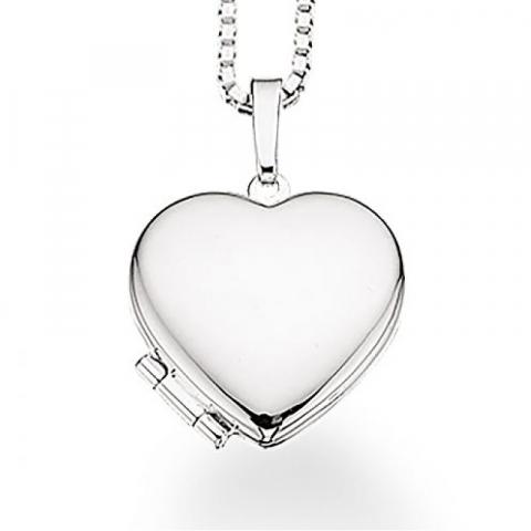 Simpelt Scrouples hjerte medaljon med halskæde i sølv