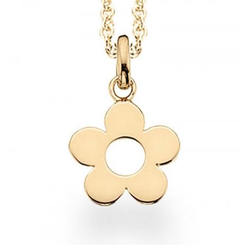 Sødt Scrouples blomst vedhæng med halskæde i forgyldt sølv