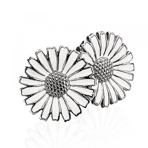 16 mm scrouples marguerit øreringe i sølv hvid emalje