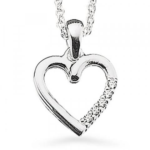 Fint Scrouples hjerte vedhæng med halskæde i sølv hvide zirkoner