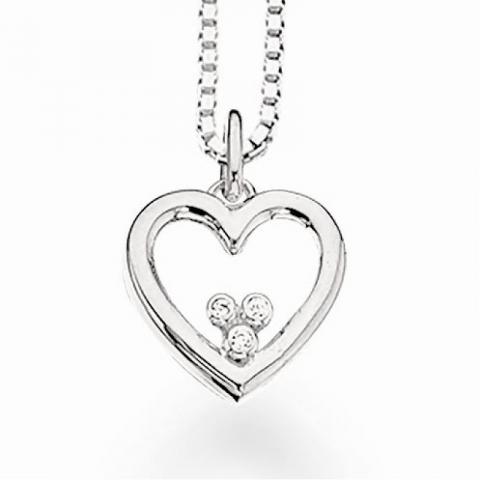 Scrouples hjerte vedhæng med halskæde i sølv hvide zirkoner