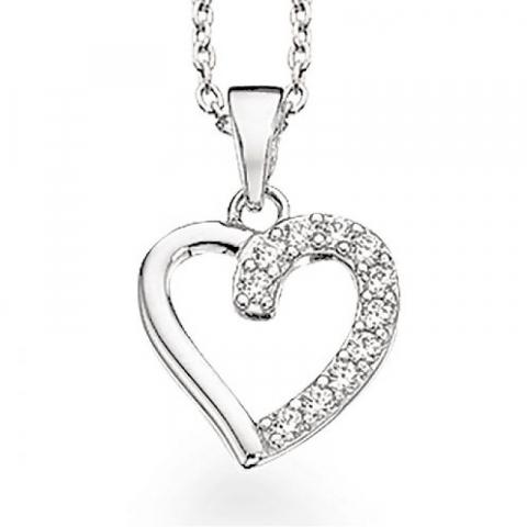 55 mm Scrouples hjerte vedhæng med halskæde i sølv hvide zirkoner