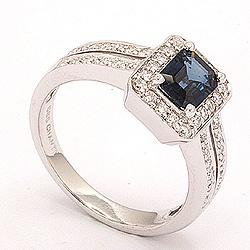 blå safir ring i 14 karat hvidguld 0,43 ct 1,05 ct