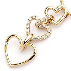 Smykke diamant hjertevedhæng i 14 karat guld 0,27 ct