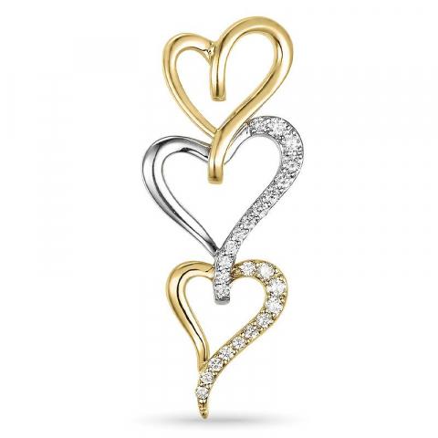 Hjerte vedhæng i 14 karat guld.- og hvidguld 0,26 ct