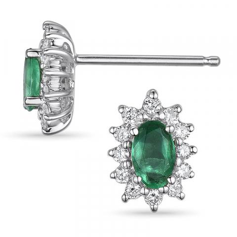 roset øreringe i 14 karat hvidguld med diamant og smaragd