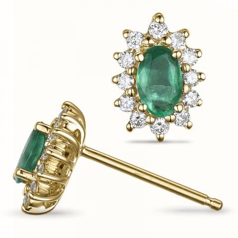 Smaragd rosetørestikker i 14 karat guld med diamanter og smaragder