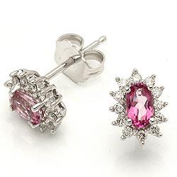 Pink topas rosetørestikker i 14 karat hvidguld med diamanter og topaser