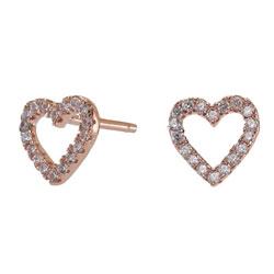 Moderne Joanli Nor hjerte øreringe i rosabelagt sølv hvid zirkon